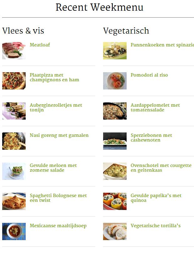 weekmenu budget koken