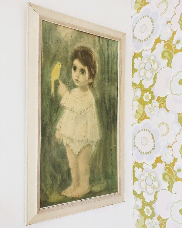 vintage schilderij kind met gele kanarie knringloop